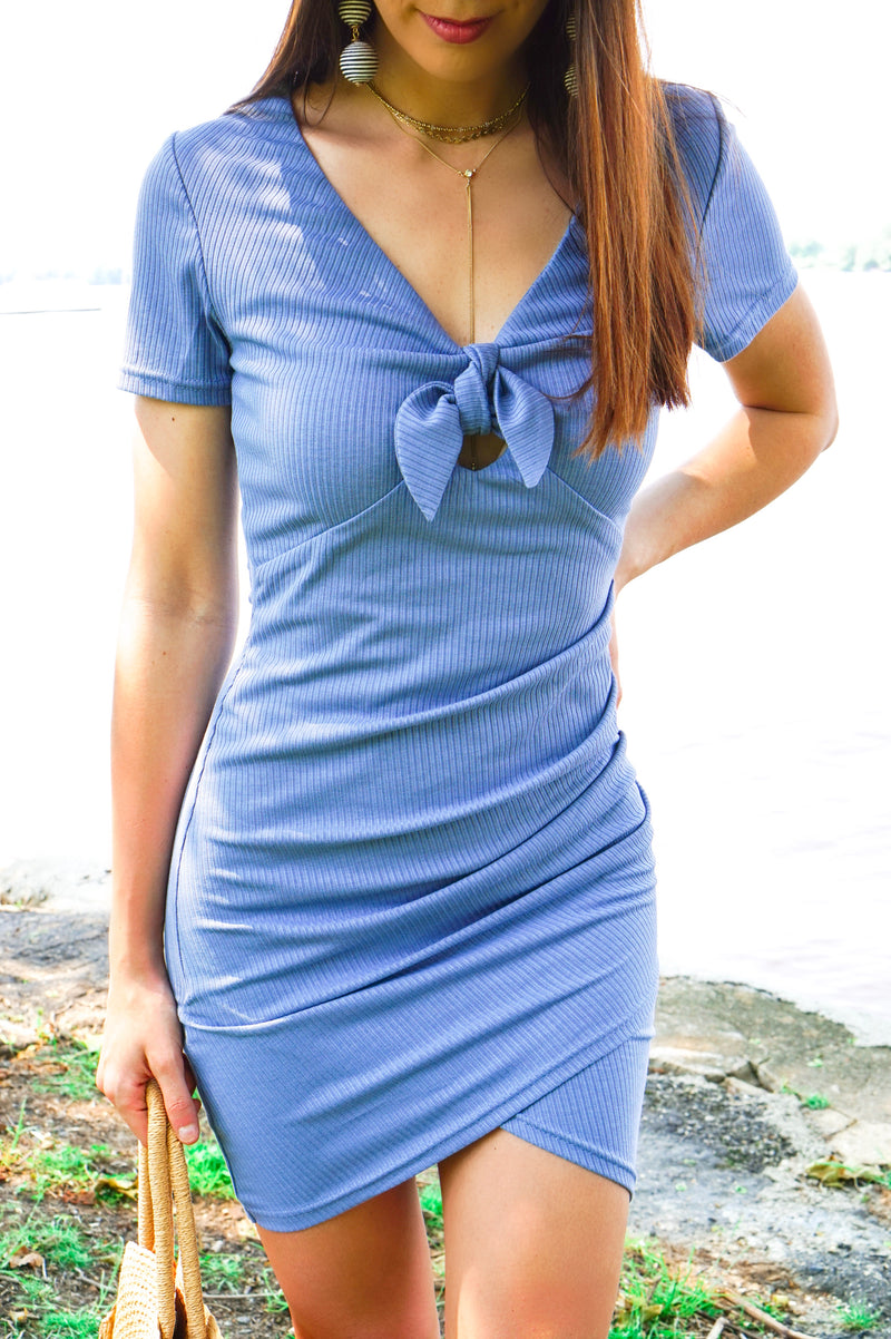 Steel Blue Knotted Dress