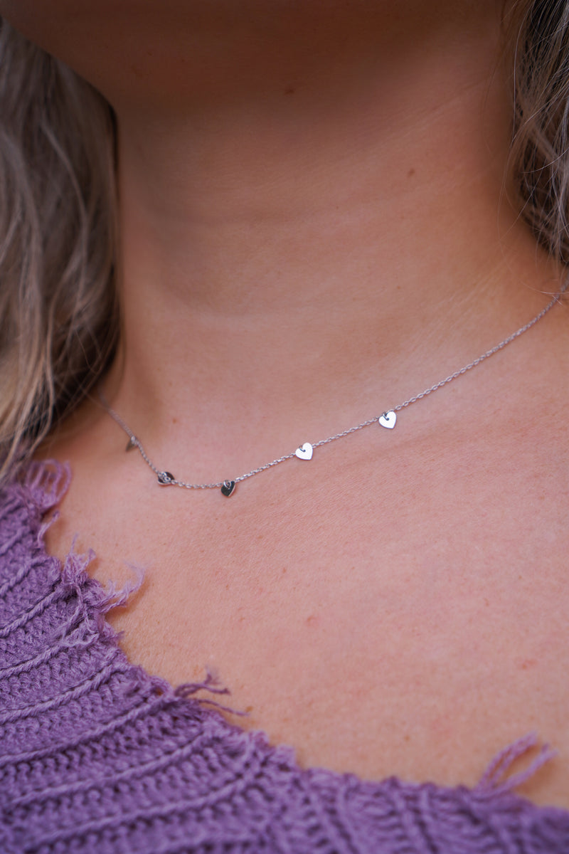 Lovely Mini Silver Hearts Necklace