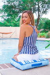 Navy & White Striped Wrap Top