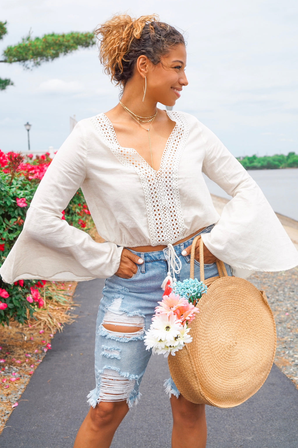 Tassel Bell Sleeve Crop Top