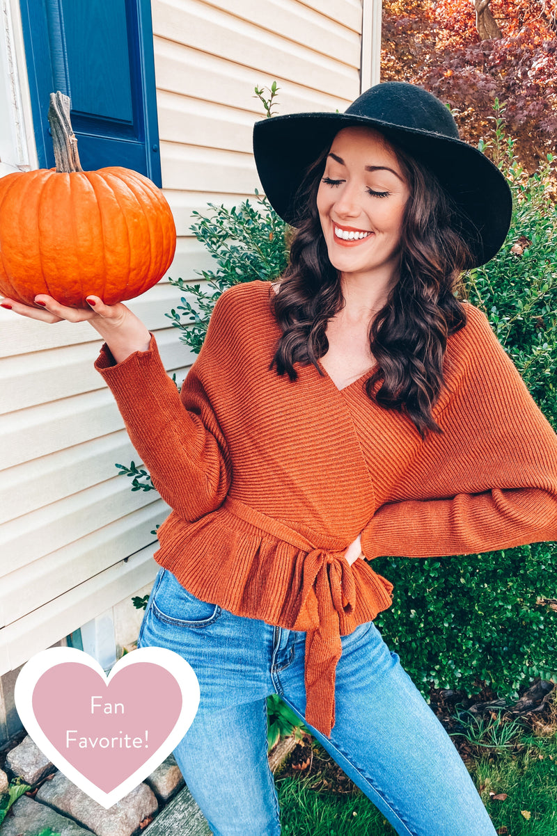 Pumpkin Pie Peplum Sweater