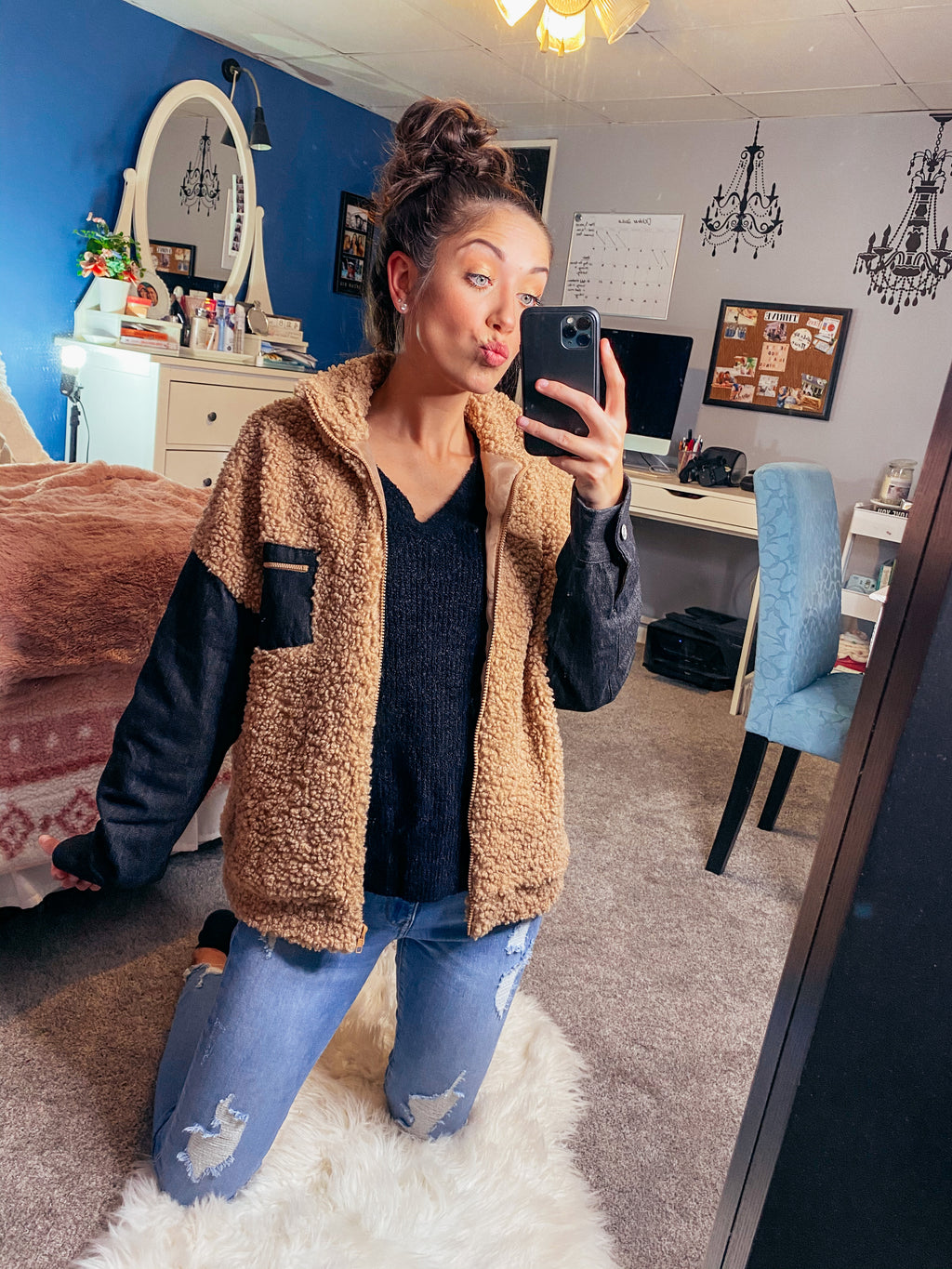 Throwback Black Denim Sleeve Sherpa