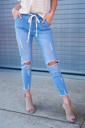 Drawstring Denim Jeans