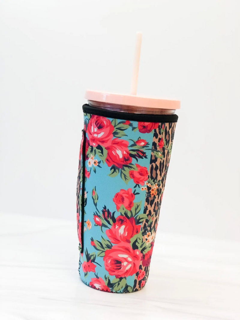 Leopard Roses Iced Coffee Insulated Sleeve