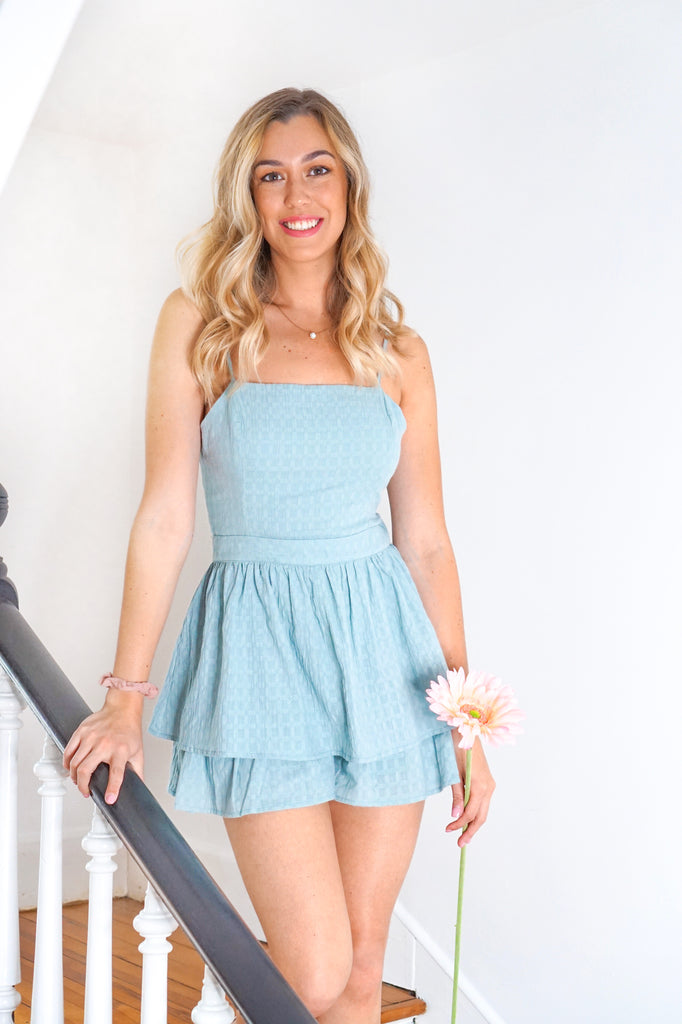 Blue Surf Ruffled Romper