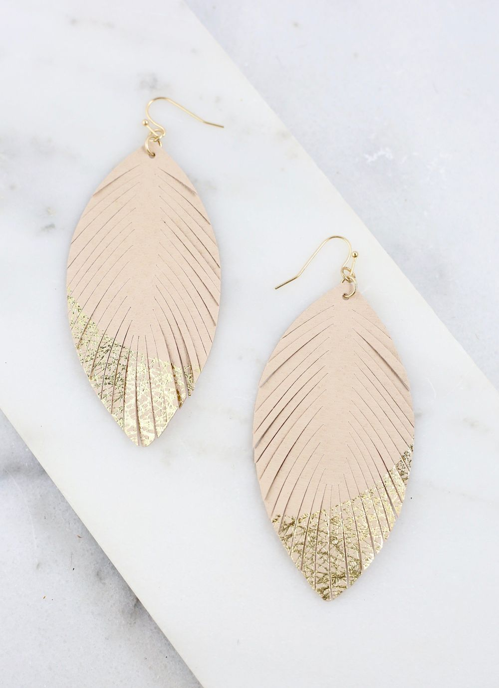 Dipped In Gold Feather Earrings