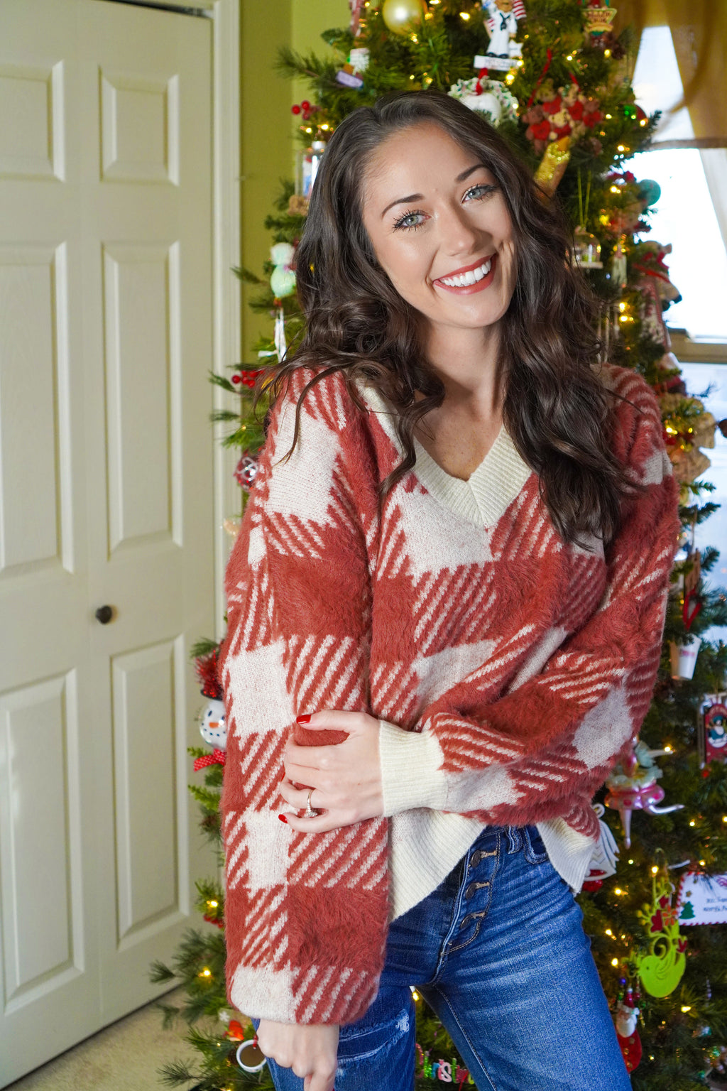 Candy Cane Plaid Sweater