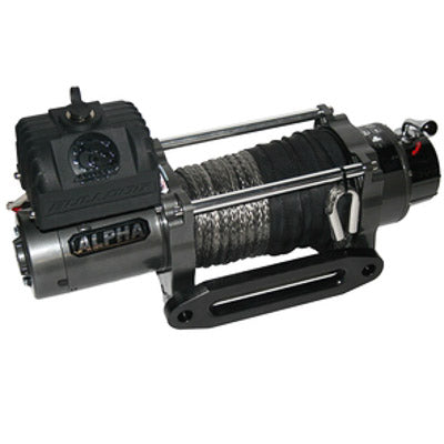 Bulldog Winch 9300lb Alpha Series w/6.0hp Series Wound, 100ft Synthetic Rope, Alum Fairlead