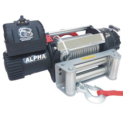 Bulldog Winch 12500lb Alpha Series Winch, 100ft Synthetic Rope, Roller Fairlead