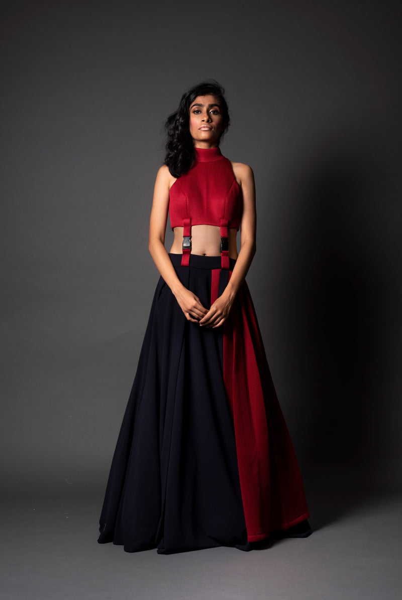 Los Angeles Red Mesh Lehenga