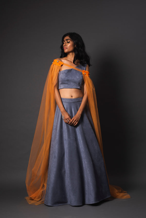 Bursa Cape Orange Lehenga
