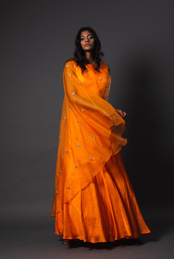 Erie Orange Linen Lehenga