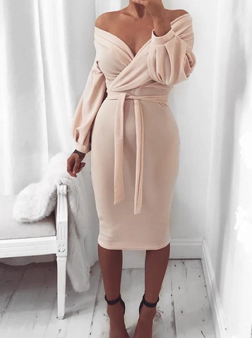 Off Shoulder Twisted Waist Tie Midi Dress