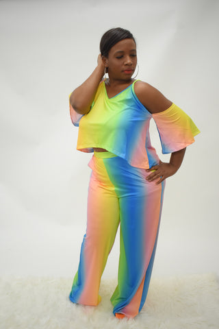Rainbow 2 piece trouser set curvy woman long curvaceous fashion made for curves