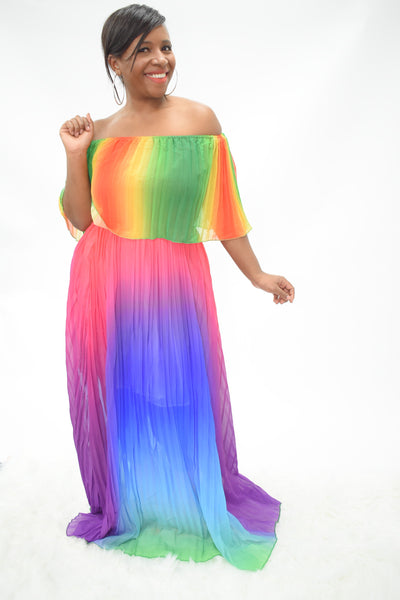 Danae rainbow maxi dress colorful bright casual comfort Long stylish peplum top half loose bottom curvaceous fashion