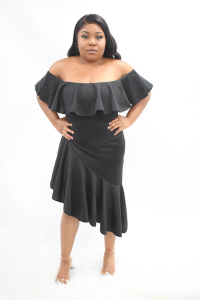 black fishtail design dress, ruffle shoulders elegant dress curves plus size curvaceous fashion