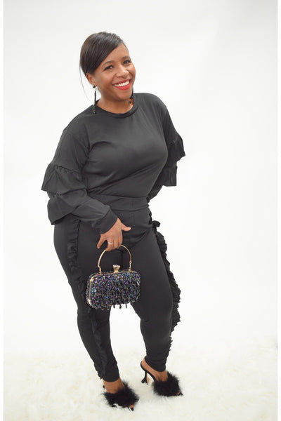 black ruffle pants set track suit ruffle sleeves and side trousers comfy fit curves plus size curvaceous fashion