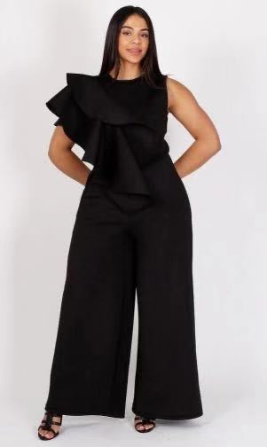 Black Loose Ruffle Jumpsuit