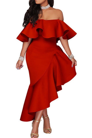 Red Fishtail Ruffle Dress