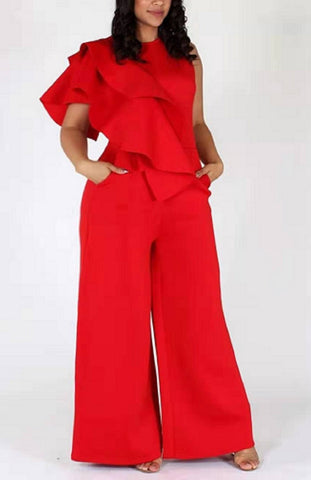 Red Loose Ruffle Sleeveless Jumpsuit