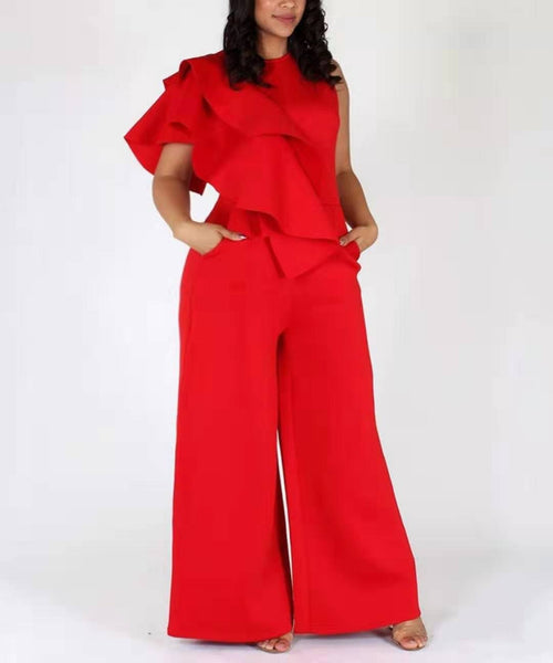 Red Loose Ruffle Sleeveless Wide Legged Jumpsuit