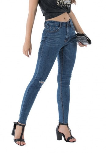 curvaceous fashion shredded slim jeans blue stretchy plus size jeans comfortable jeans