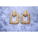 Chunky Textured Square Statement Earrings