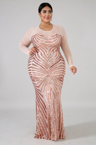 elegance maxi gold sequin dress curvy curvaceous fashion