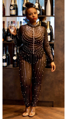 envy curvaceous fashion jumpsuit studded sheer bodycon pearls detail curvaceous fashion