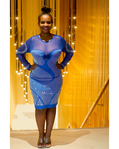 Curvaceous fashion dazzle blue diamanté dress curvy stretchy