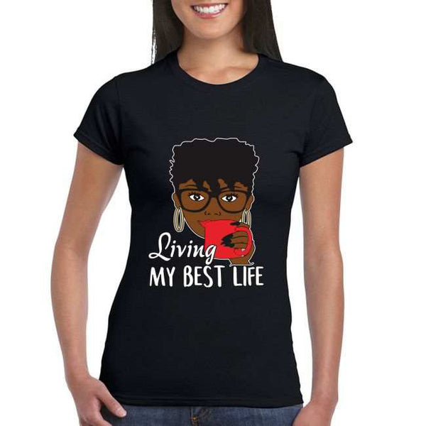 Curvaceous Fashion 3 Sides Black Woman T-shirt is 100% cotton, handmade design heat pressed on to each T-shirt made to order.   Cold wash only do NOT Tumble dry BEST LIFE CURVY T-SHIRT PLUS SIZE