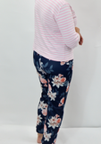 Curvaceous fashion cigarette trousers floral pattern plus size curves trousers blue trousers