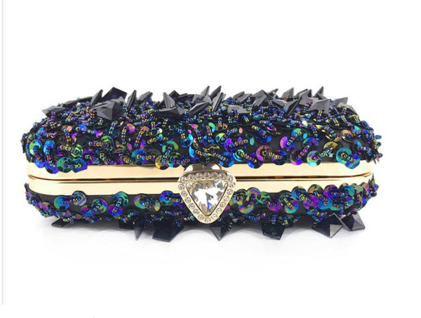 Black Crystal Beaded Clutch Bag curvaceous fashion plus size