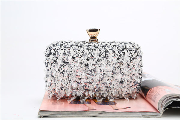 White Crystal Beaded Clutch Bag curvaceous fashion accessories wedding elegant