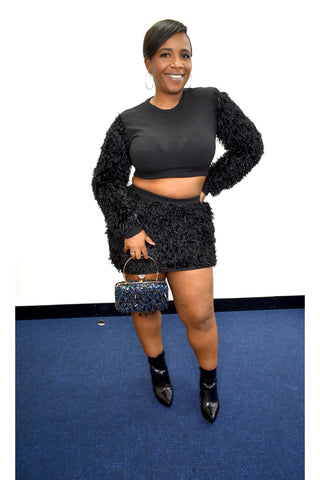 Black Teddy Sleeved Rib Crop TOP & Mini Skirt Two Piece curvaceous fashion curves plus size