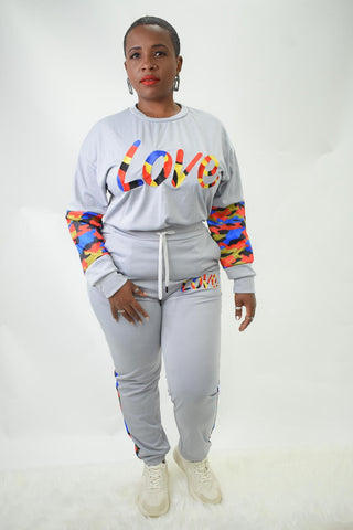 love tracksuit  curvaceous fashion curves curvy tracksuit  sweats grey sweats curvy plus size