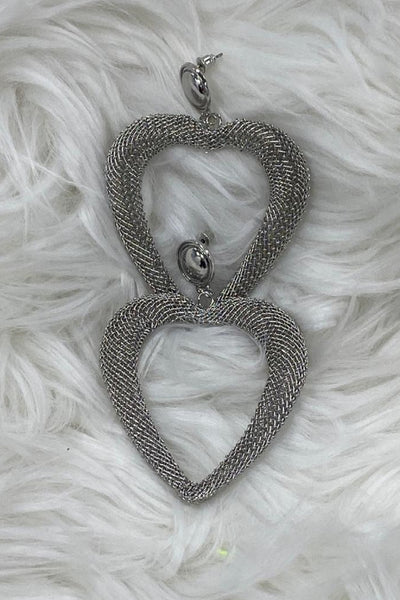 Curvaceous Fashion Mesh Heart Earrings, Mesh brings these earrings to life the large size will most definitely get you noticed