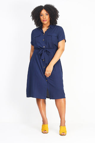 Button Through Midi Shirt Dress