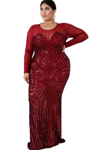 elegance red sequin gown statement piece glamour made for curves curvaceous fashion mesh top