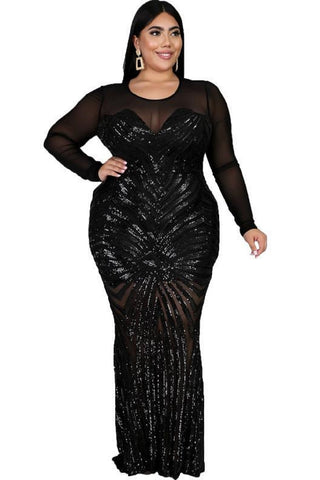 elegance black sequin gown curves curvaceous fashion glamour