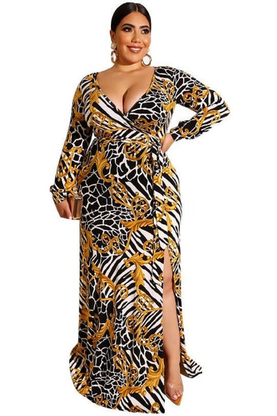 maxi dress curvaceous fashion plus size comfortable dress chain me up print stretchy curves curvy fashion
