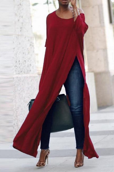 LONG BLOUSE WITH HIGH LEG SLIT curvaceous fashion long top dramatic top red top blue top curvy fashion plus size