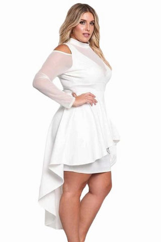 Faith Mesh Peplum Dress  curvaceous fashion fishtail back midi dress bodycon curvy plus size white dress black dress