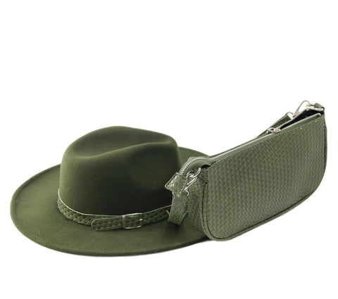 Khaki Felt Fedora Hat With Woven Band