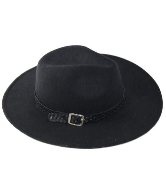 Black Felt Fedora Hat With Woven Band