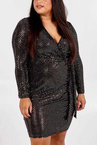 Metallic Diamond Wrap Dress