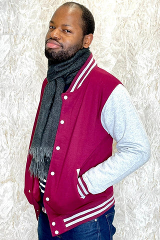 Burgundy / Heather Grey Varsity Jacket