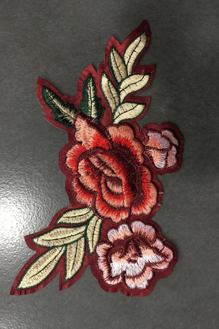 Red Floral Rose Iron-On Patch