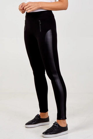 PU Panel Zip Detail Legging
