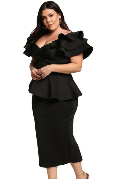 Maleficent Tiered Sleeve Peplum Dress